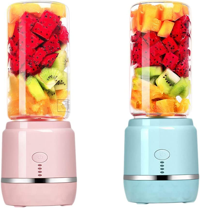 Mini Eléctrico Exprimidor, Exprimidor Recargable De Alta Vidrio Borosilicato Lámina del Acero Inoxidable ABS Base Seguro Y Duradero Portátil Exprimidor De Frutas Pink