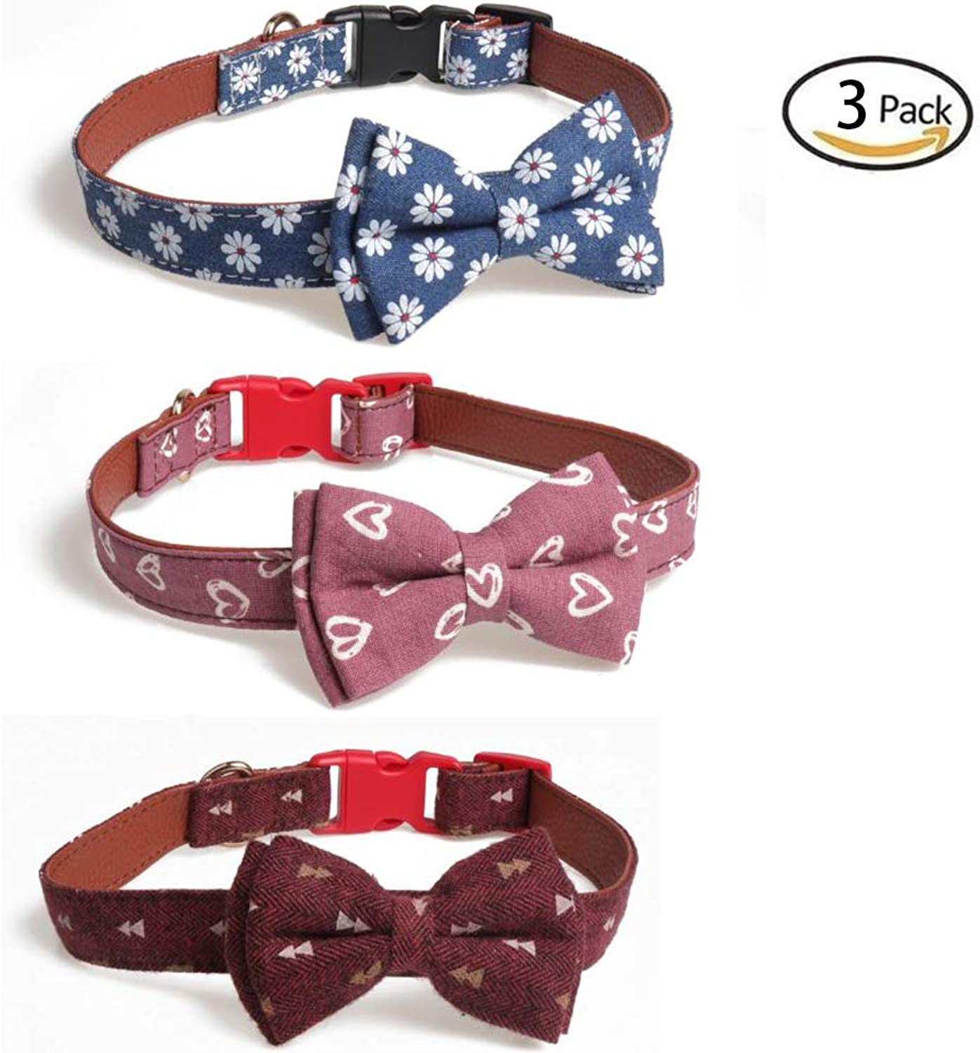 Dog Collar Set, Soft and Comfortable Pet Collar and Leash can be Adjusted in Size, 3 Sizes can be Selected, 3 Pieces,L
