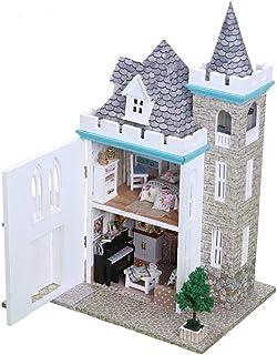 ウッドドールハウスミニチュアDIYキットキャッスルドールハウスハウス大きな素敵な別荘と導かれた光と家具(月光城) (Color : Multi-colored, Size : 19.2*15.1*30.2cm)