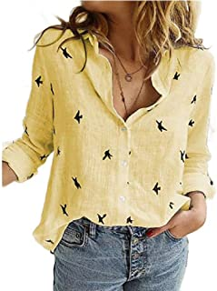 Howely Women's Button Down Classic Loose Floral Printed Long Sleeve Top Blouse