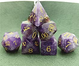 Dungeons /& Dragons Game Collection. Amatolo Stone Dice Set of 7 Handmade Gemstones Dices for DND RPGs 4-D26 Dark Amethyst