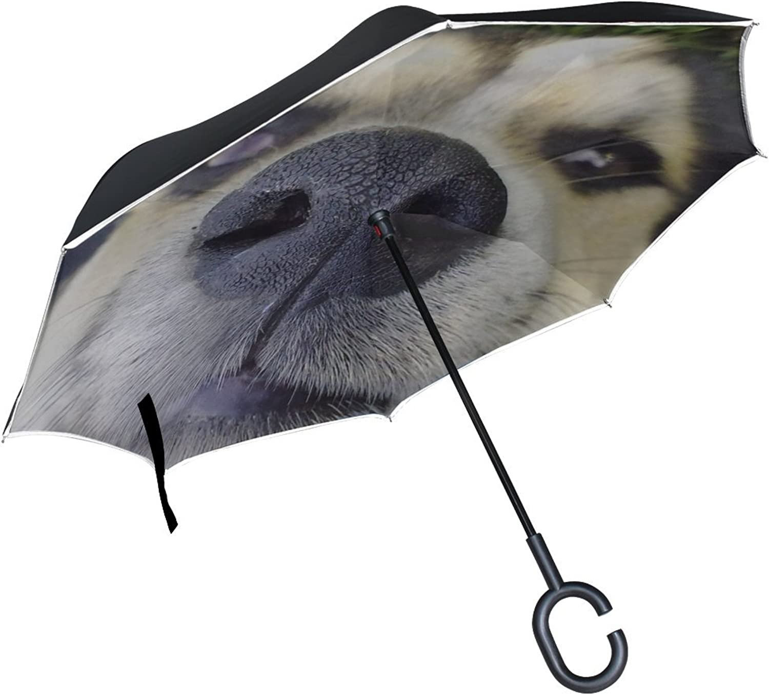 Rh Studio Ingreened Umbrella Dog Nose Face Cute Large Double Layer Outdoor Rain Sun Car Reversible Umbrella