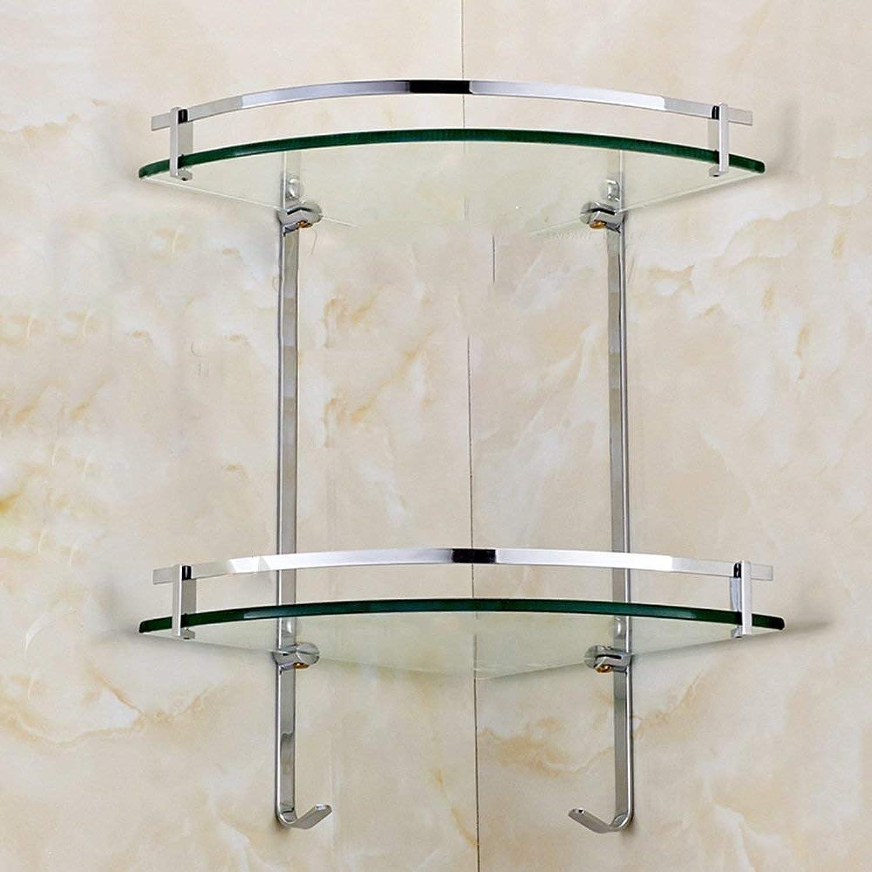 GFF Shelf Copper Double Glass Shelf Bathroom Hardware Accessories Bathroom Tripod with Hook (Size   35cm)
