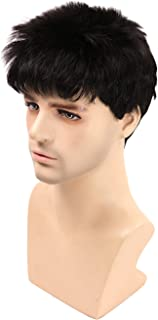 Kalyss Short Straight Men Wig Black Color Wig High Heat Resistant Wig (Black #2)
