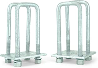 Sturdy Built Single Axle Galvanized U Bolt Kit for mounting Boat Trailer Leaf Springs for 2x3 axle - 6 1/4
