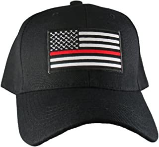 AffinityAddOns Thin Red Line USA Hat, Black Adjustable Baseball Ball Cap, Firefighter Support, Black, White, Red