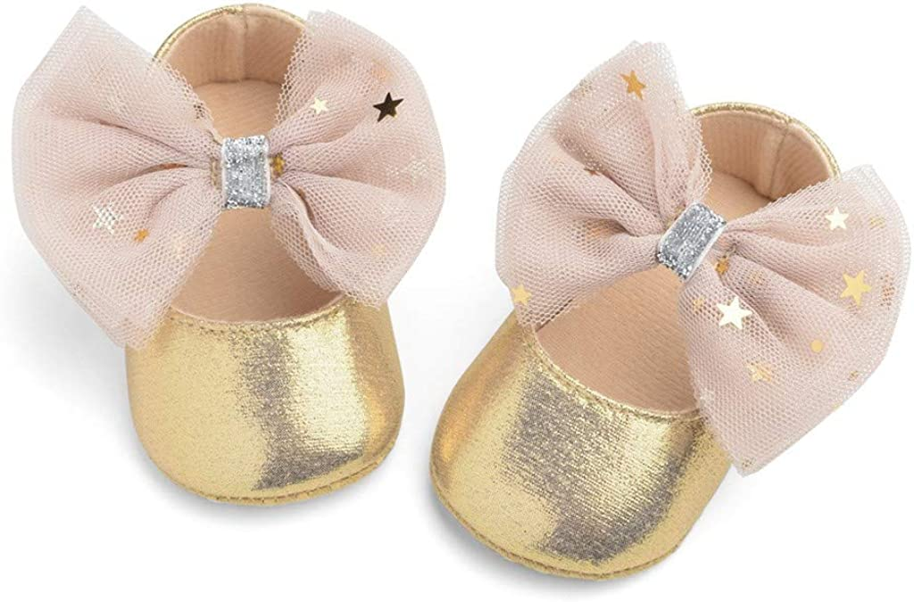 DAY8 Chaussures Bebe Fille 0-12 Mois Cuir PU Automne Chaussure Princesse Bapteme Mariage Ceremonie F/ête Chaussure Bebe Fille Premier Pas Souple Antiderapante Chausson Bebe Naissance