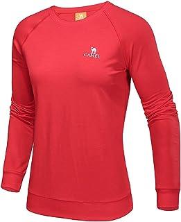 Camel Women Sport Long Sleeve T-Shirt Pullover Running Tees Crew Neck T Shirt Outdoor Performance Red L