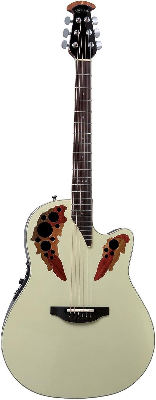 Ovation Guitarra acústica estándar Elite Deep Contour Cutaway Pearl White