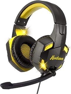 Hudson Audífonos Gaming para Video Juegos, Auriculares Bluetooth para Gamers con Aislamiento de Ruido y Controlador del Volumen para Consolas, Xbox, Nintendo, PS4 y PC