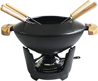 XIONGGG Cast Iron Fondue Set, with Adjustable Burner and 6 Forks, for Cheese/Chocolate/Meat, 10-Piece, Black