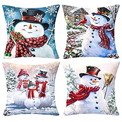 Maliton Set of 4 Christmas Pillow Covers 18x18 Inch, Decorative Christmas Smile Snowman Pillow Covers, Linen Christmas Throw Pillow Covers Suit for Sofa, Couch, Bed and Car
