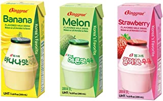 Biggrae Flavored Milk Series; Banana, Strawberry, Melon & Mix; Each Pack 200ml, 6.8 Fl oz; 빙그레 우유(바나나, 딸기, 멜론) (Mix(Strawberry+Banana+Melon), 18 Packs(Each Flavor 6 Packs))