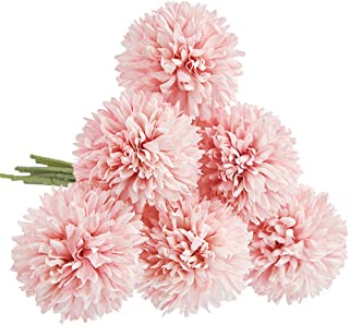 CQURE Artificial Flowers, Fake Flowers Silk Artificial Hydrangea 6 Heads Bridal Wedding Bouquet for Home Garden Party Wedd...