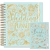 Ensemble de carnets de mariageavec grand carnet d'organisation et carnet de mariée assorti, bleu canard, idéal comme cadeau de fiançailles