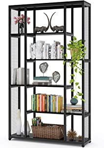 Tribesigns Bookcase Bookshelf with Metal Mesh, Industrial 6-Staggered Etagere Bookcase Book Shelves, Display Shelf Storage Organizer for Home Office (Black)