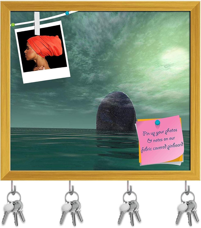 Artzfolio Surreal Stone Key Holder Hooks   Notice Pin Board   golden Frame 17.9 X 16Inch