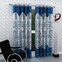 Blexos Heavy Printed Polyester Door Curtain (Blue, 7 ft) -Set of 2