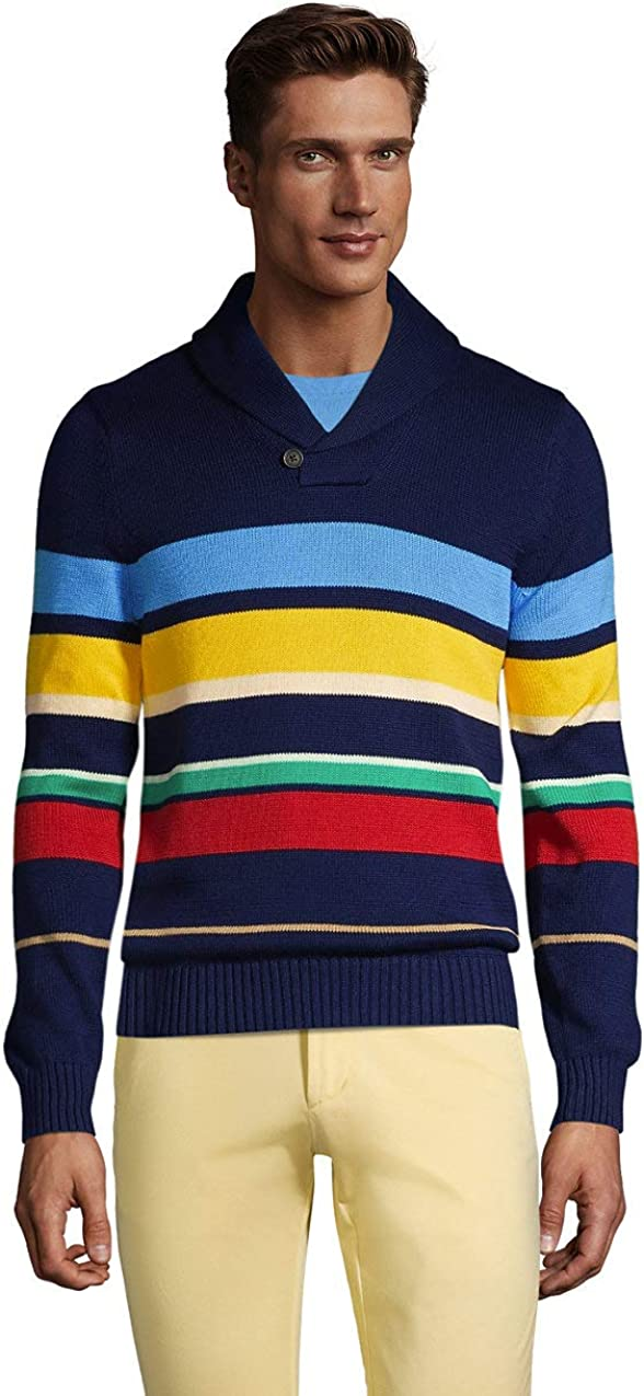 Lands' End Men's Cotton Stripe Pullover Shawl Sweater