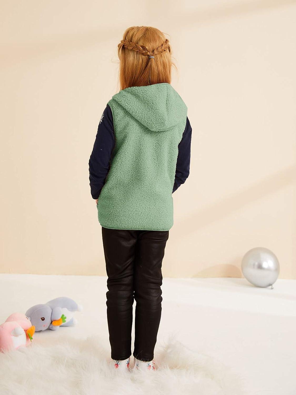 Meilidress Girls Boys Sherpa Fleece Hoodies Vest Jacket Zipper Warm Sleeveless Fall Winter Outwear