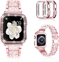 Mosonio Compatible with Apple Watch Band 38mm 40mm 42mm 44mm with Case Women, Jewelry Replacement Metal Wristband Strap with 2 Pack Bling PC Protective Cover for iWatch Series 6/5/4/3/2/1(Pink)