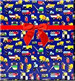 Construction Dump Truck and Vehicles Gift Wrap Wrapping Paper 12feet Folded with Gift Tags