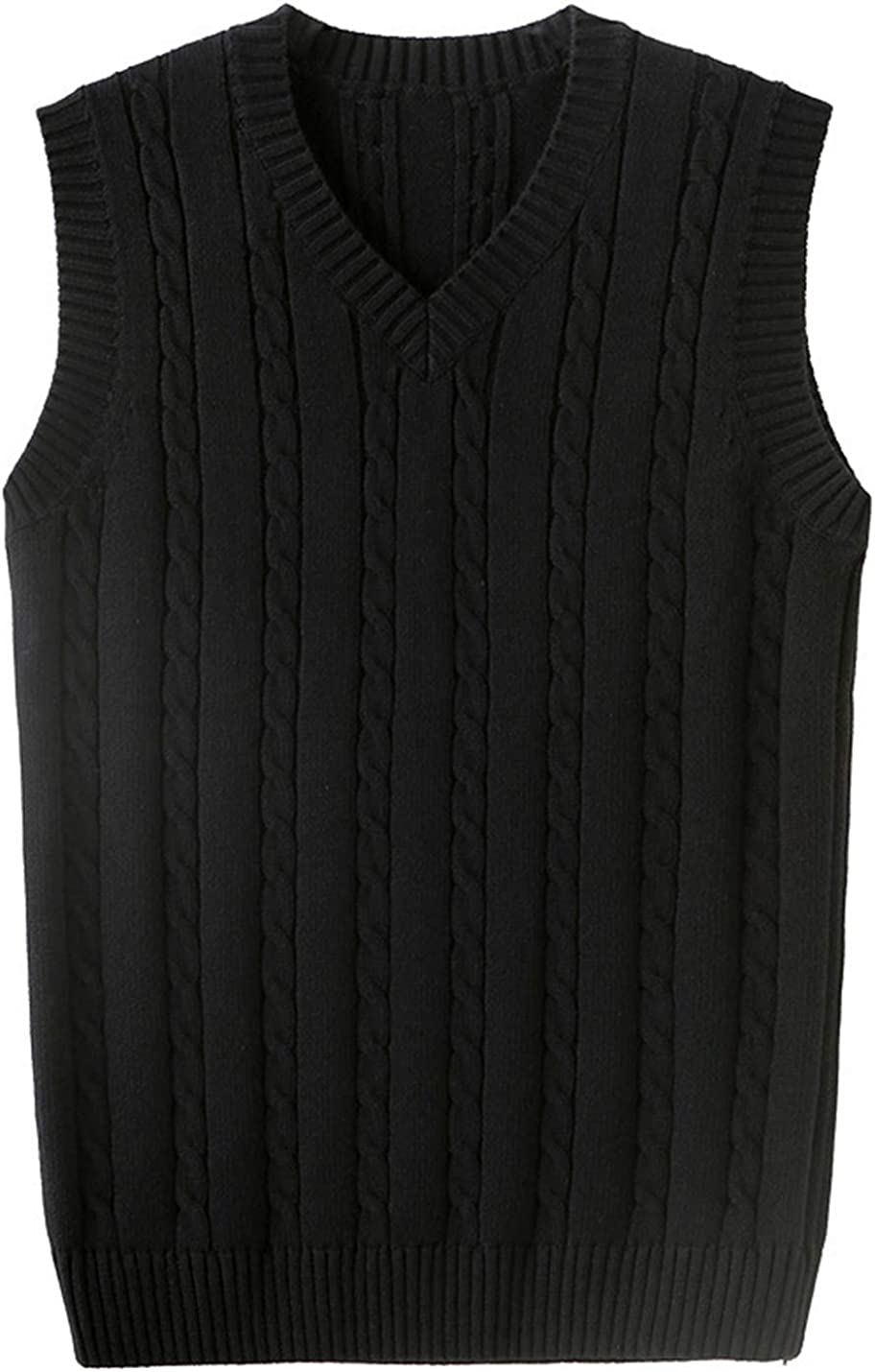 Omoone Men's Thick V Neck Cable Knit Sleeveless Pullover Sweater Vest Knitted Waistcoat