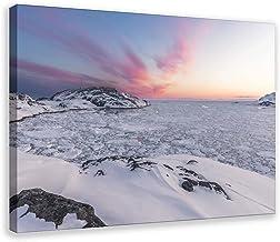 Winter Sunrise Iceberg Canvas Poster Muur Art Decor Print Foto Schilderijen voor Woonkamer Slaapkamer Decoratie Frame:24 ×...
