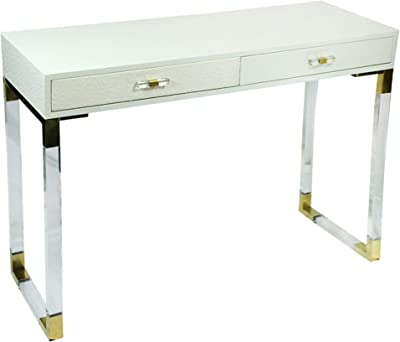 Benjara 2 Drawer Wooden Console Table with Acrylic Legs, White and Gold