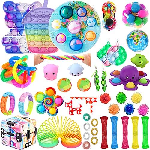 Juego de 51 juguetes sensoriales de empuje de burbujas para adultos, kit de juguetes para aliviar la ansiedad del estrés, regalo educativo para niños (3)
