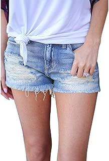 LUKEEXIN Women's Distressed Ripped Hole Denim Short Jeans