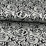 Brokatstoff Rosenmuster schwarz silber - Preis gilt für