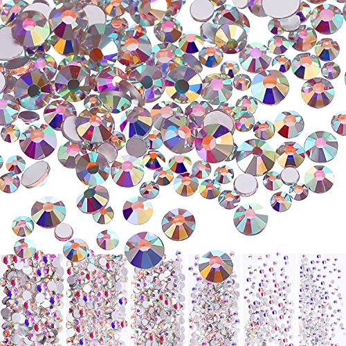 Bememo 3456 Pieces Nail Crystals AB Nail Art Rhinestones Round Beads Flatback Glass Charms Gems Stones, 6 Sizes for Nails Decoration Makeup Clothes Shoes (Iridescent)