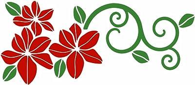 Asian Paints Wall-Ons Red Floral Wall Sticker (PVC Vinyl, 0.01 cm x 55.88 cm x 30.48 cm) (DR1B)