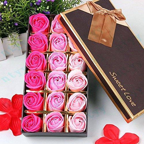 FunRun 18 Stücke Rosen-Duftseifen in Geschenk-Box, Konservierte Rosenduft Steigung-Farben-Badeseife Rose in Geschenkbox Geburtstags (Rosa)