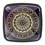 Paquete de 4 pomos de gabinete cuadrados negros para gabinete, pomos de cajón, accesorios de baño, pomos decorativos mandala floral geométrico
