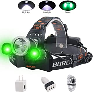 BORUIT LED Headlamp - Ultra Bright 5000 Lumens, 3 Lighting Modes,White & Green LEDs, IPX4 Water Resistant, USB Rechargeable Head Lamp Perfect for Running, Camping, Hiking & More (3000 green)
