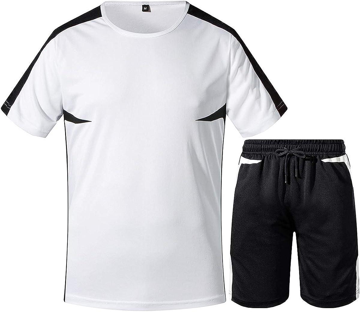 Aibrou Ropa Deportiva Ch/ándales para Hombre Camisa Mangas Cortas Pantalon Chandales Hombre Cortos Conjunto Chandal Hombre Verano Gym Correr Trotar Caminar