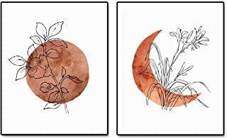 Terracotta Sun and Moon Print, Flower Sun, Minimal Wall Art, Boho Decor, Abstract Moon, Flower Line Print, Sunset Art, Set...