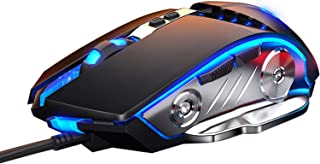 LENRUE Gaming Mouse Wired, Ergonomic Computer Mice with 7 Programmable Buttons, 4 Circular & Breathing LED Light, 4 Adjust...