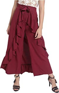 Uptownie Lite Women's Crepe Solid Flared Ruffle Ethnic Adjustable Pants/Bottom