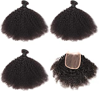 Mongolian Afro Kinky Curly Hair Bundles with Free Part Lace Closure 4x4 with Human Virgin Wave Hair Weave Natural Black Color (8 10 12+8 Inch)