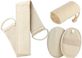 ITTA 4 unidades de esponja de baño exfoliante orgánica, esponja de lufa para la espalda, exfoliante corporal, almohadillas...