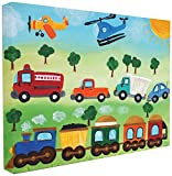 Stupell Industries The Kids Room by Stupell Planes, Trains, and Automobiles Canvas Wall Art, 16 x 20, Design by Artist nJoyArt