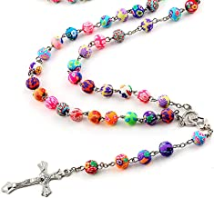 RWATS Necklaces Jewelry Multicolor Soft Ceramics Beads Chain Alloy Cross Pendant Statement Necklace For Women Jewelry