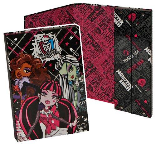 alles-meine.de GmbH Ordner für A4 Monster High - für Hefte Ringbuch Kinder Mädchen pink Gothik Puppen Mappe Ordnungsmappe Hefter Heftbox A 4