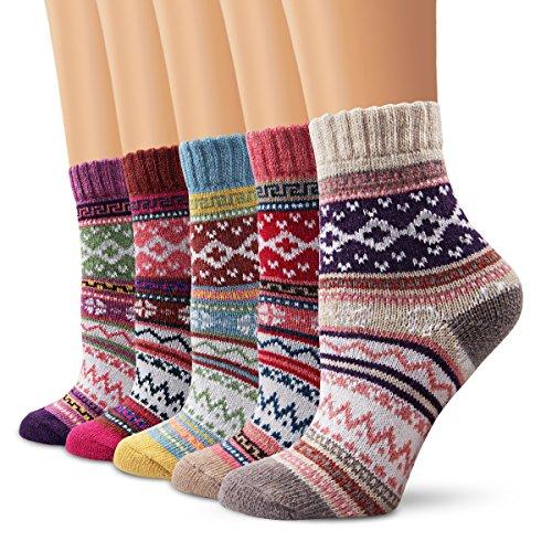 5 Paar - Moliker Wollsocken,Frauen Socken Wintersocken Jahrgang Sanft Warme Socken Zum Winter-5005-Einheitsgröße