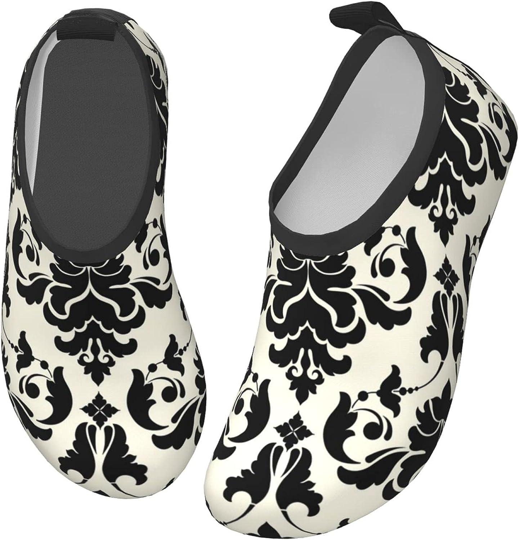 Bluebluesky Retro Black and White Kids Swim Water Shoes, Non-Slip Quick Dry Barefoot Aqua Pool Socks Shoes for Boys & Girls Toddler