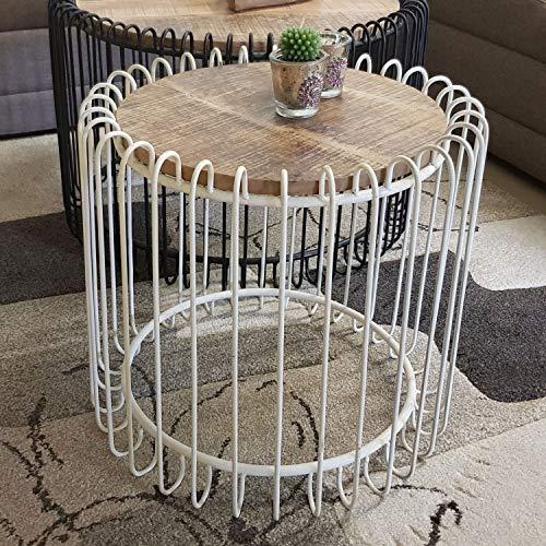 casamia salontafel rond ø 50 cm woonkamer tafel bijzettafel York metalen frame zwart mat of zuiver wit modern Zuiver wit - Tabacco