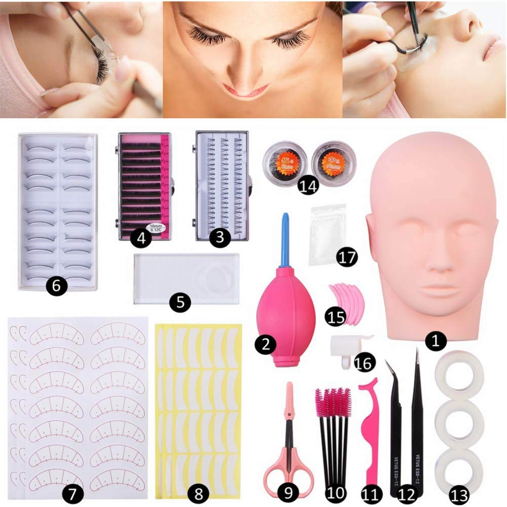 Vcedas Max 80% OFF Sales for sale Training Mannequin Head False Extension Eyelashes Kit Pro
